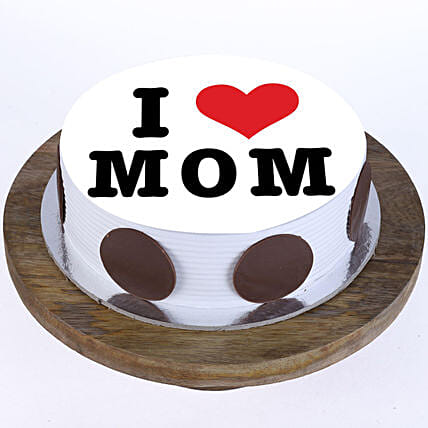 I Love Mom Pineapple Photo Cake- Half Kg