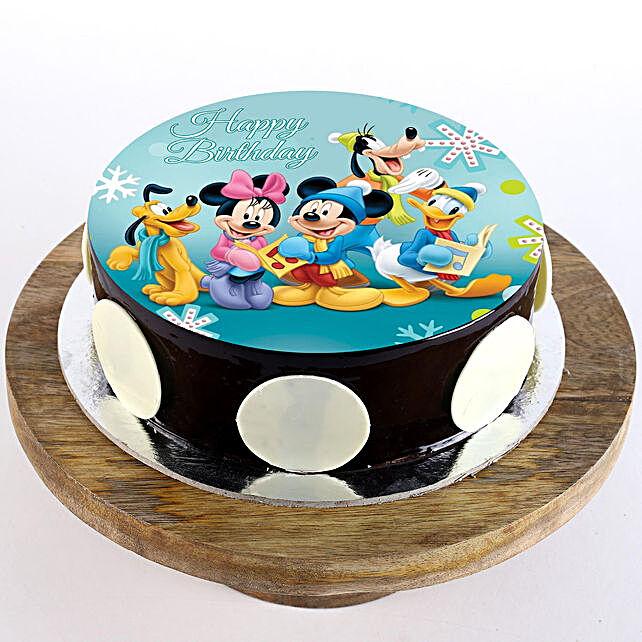 Mickey Clubhouse Chocolate Photo Cake- Half Kg Eggless