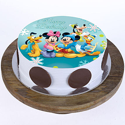 Mickey Clubhouse Photo Cake- Vanilla Half Kg Eggless