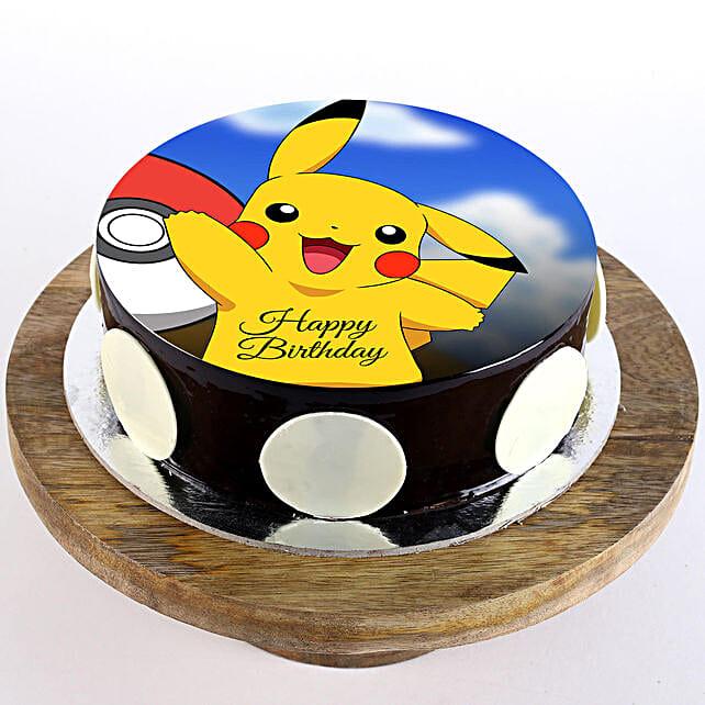 Pikachu Chocolate Photo Cake- Half Kg Eggless