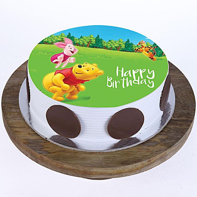 Pooh & Piglet Photo Cake- Pineapple Half Kg Eggless