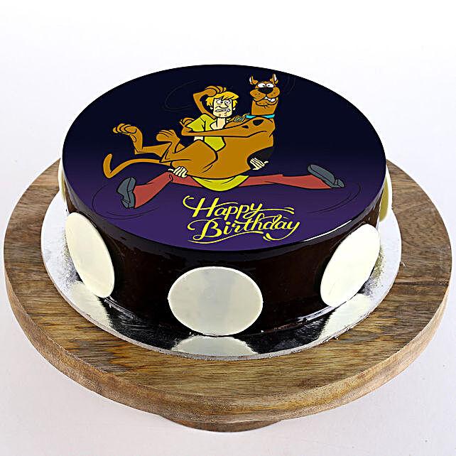 Scooby & Shaggy Chocolate Truffle Photo Cake- Half Kg