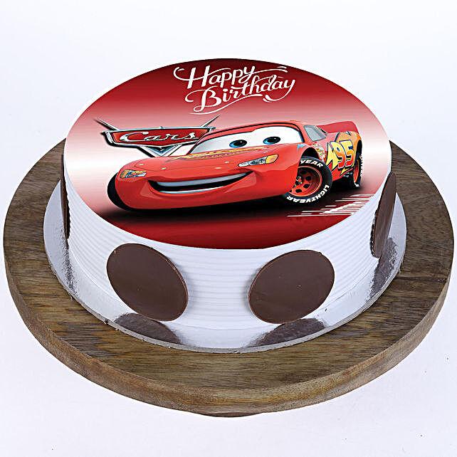 The Cars Photo Cake- Pineapple Half Kg Eggless