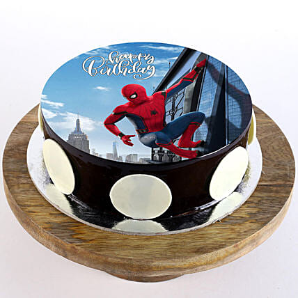 The Spiderman Chocolate Photo Cake- Half Kg