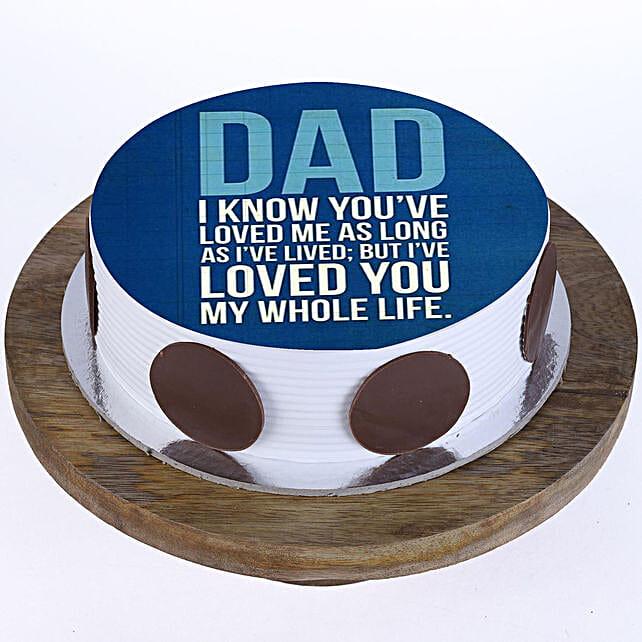 Loving Dad Photo Cake- Vanilla 1 Kg Eggless