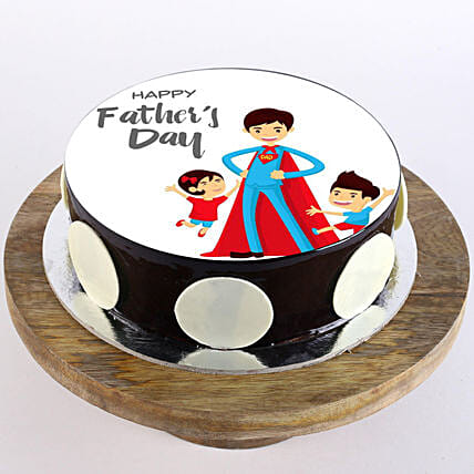 Superman Dad Photo Cake- Truffle Half Kg Eggless