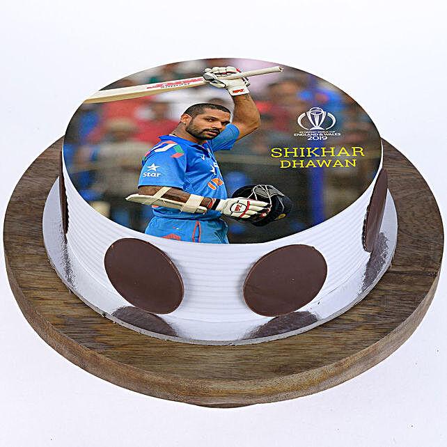 Shikhar Dhawan Photo Cake- Vanilla 2 Kg Eggless