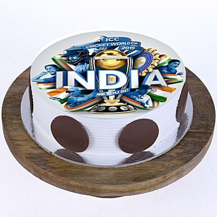 Team India Photo Cake- Pineapple 1 Kg Eggless