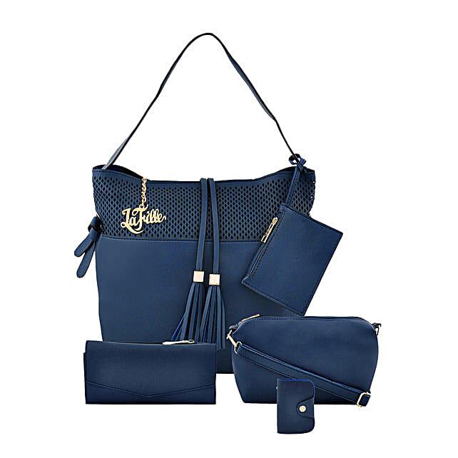 LaFille Stunning Blue Handbag Set