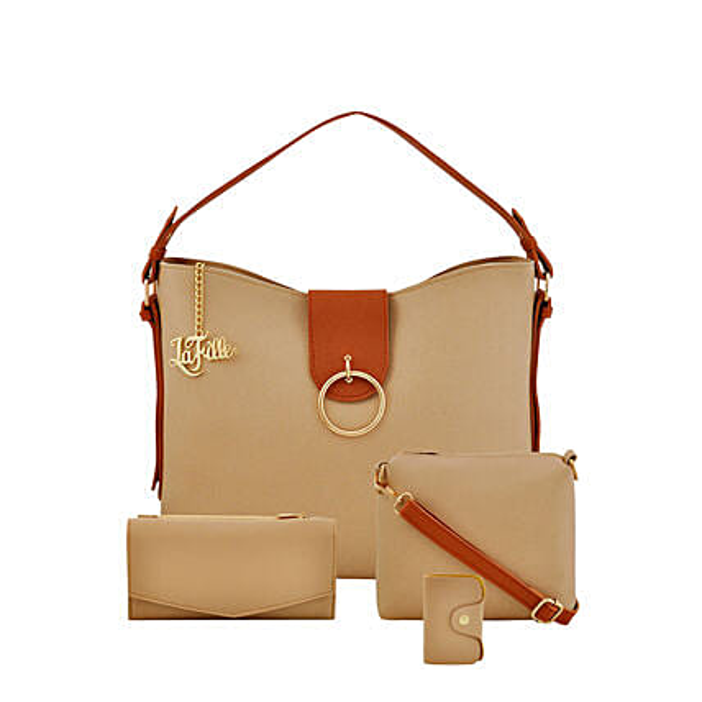 LaFille Vogue Beige Handbag Set