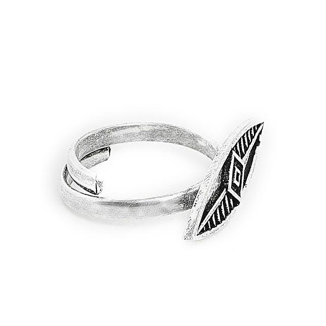 Adjustable Oxidized Silver Sleek Ring