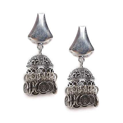 Bell Design Short Earrings With Hanging Coins