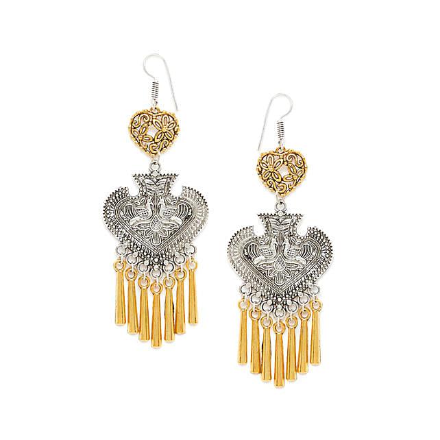 Dual Toned Spade Earrings With Peacock Motifs