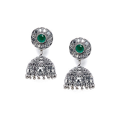 Emerald Colored Stone Silver Plated Jhumkis