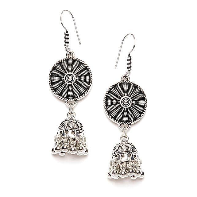 Patterned Silver Long Jhumki Earrings