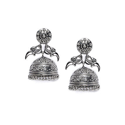 Peacock Silver Plated Jhumkis