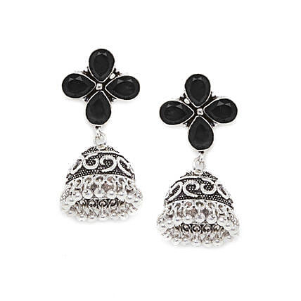 Silver Plated Jhumkis With Black Stones
