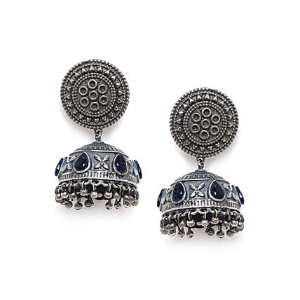 Silver Plated Jhumkis With Embellished Blue Stones