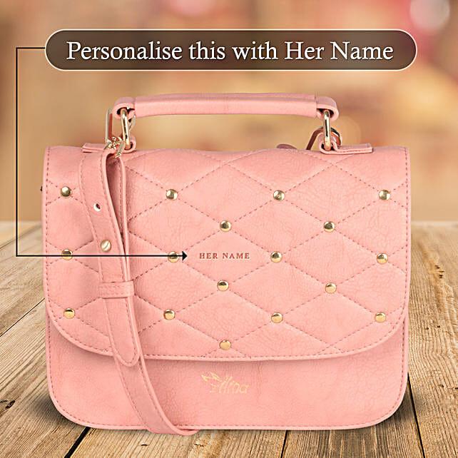 Pink Studded Bag Online for Women