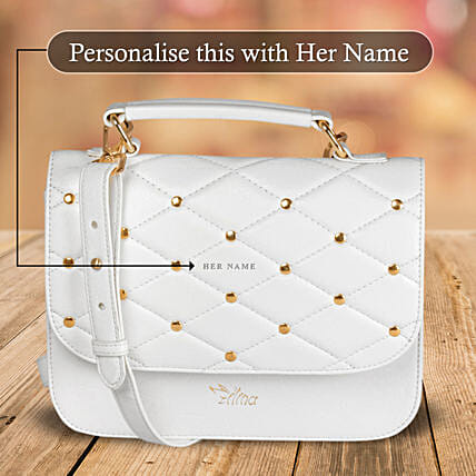 White Studded Bag Online for Women:Personalised Handbags and Wallets