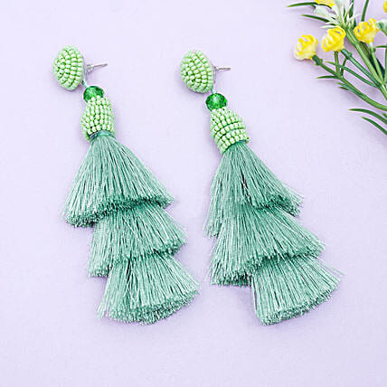 Cool Green Tassel Earrings