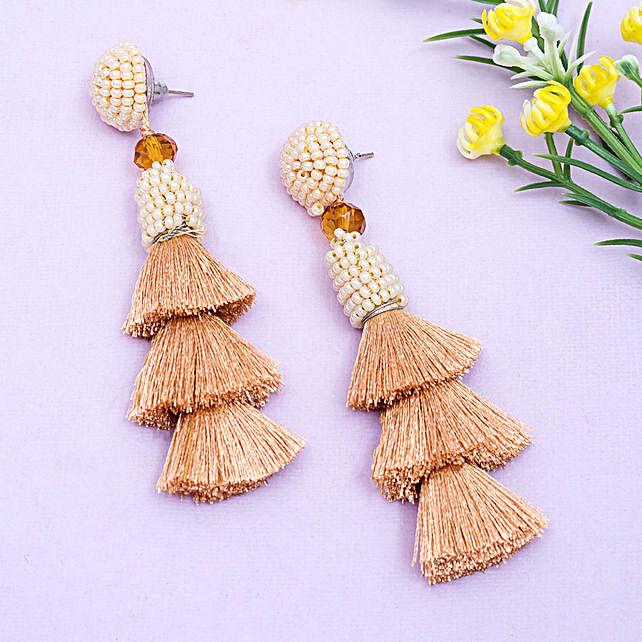 Modish Brown Tassel Earrings