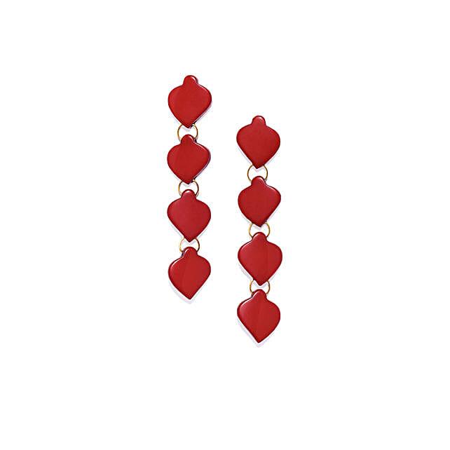 Red Resin Heart Earrings