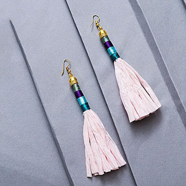Baby Pink Tassel Earrings