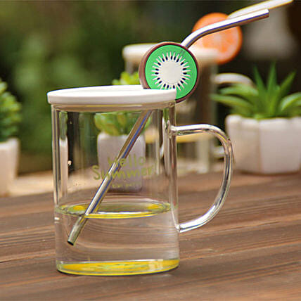 Glass Mug with Stainless Steel Straw Kiwi