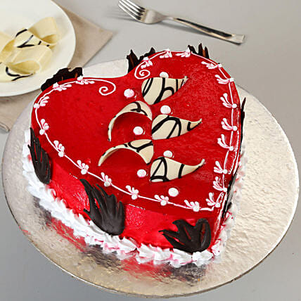 Decorated Red Heart Cake Half Kg Truffle