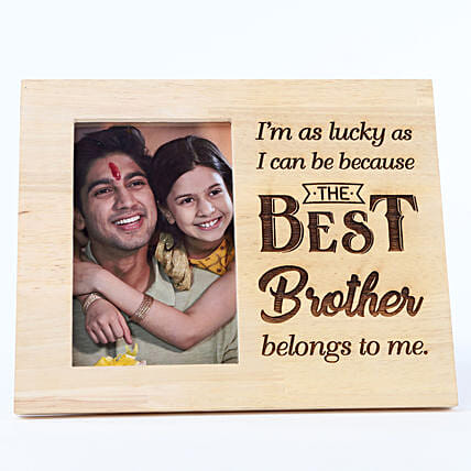 best brother text engrave wooden frame for him