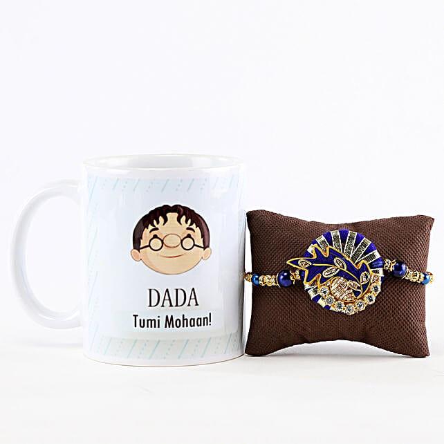 Dada Tumi Mohaan Mug & Blue Linen Rakhi