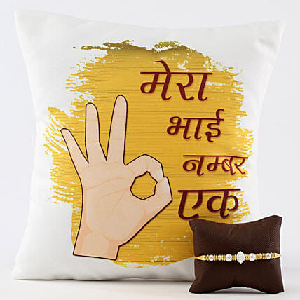 Ek Number Bhai Cushion & Moti Rakhi