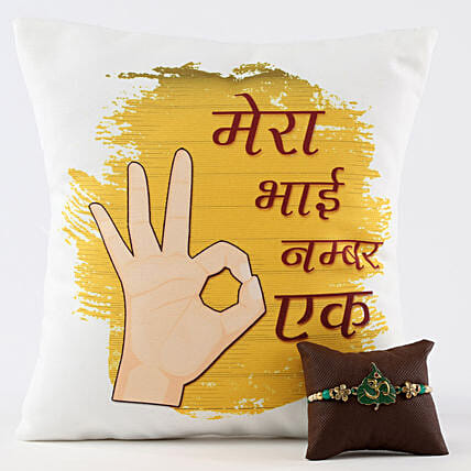 Ek Number Bhai Cushion & Om Rakhi