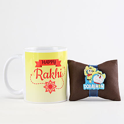 Happy Rakhi Mug & Glowing Doremon Rakhi