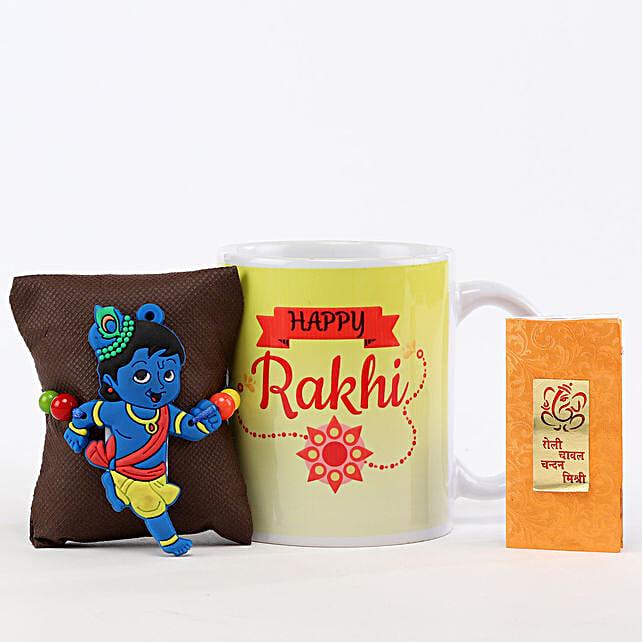 Happy Rakhi Mug & Little Krishna Rakhi