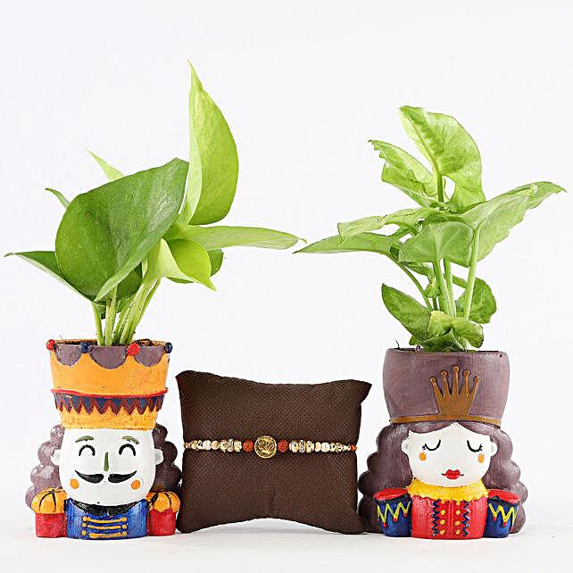 Foliage Plants Set With Designer Om Rakhi