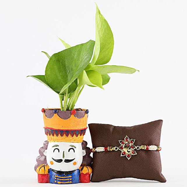 Money Plant In King Resin Pot Metal Ganesha Rakhi