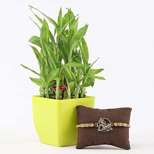 2 Layer Bamboo in Green Pot Lord Krishna Rakhi