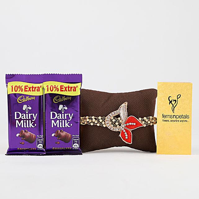 Red Designer Rakhi & Dairy Milk