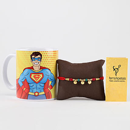 Superman Mug & Designer Bells Rakhi