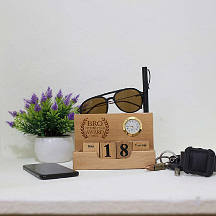 Personalised Desktop Wooden Calendar For Brother
