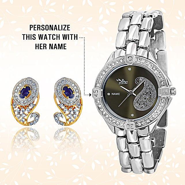 Personalised Watch & Elegant Earrings