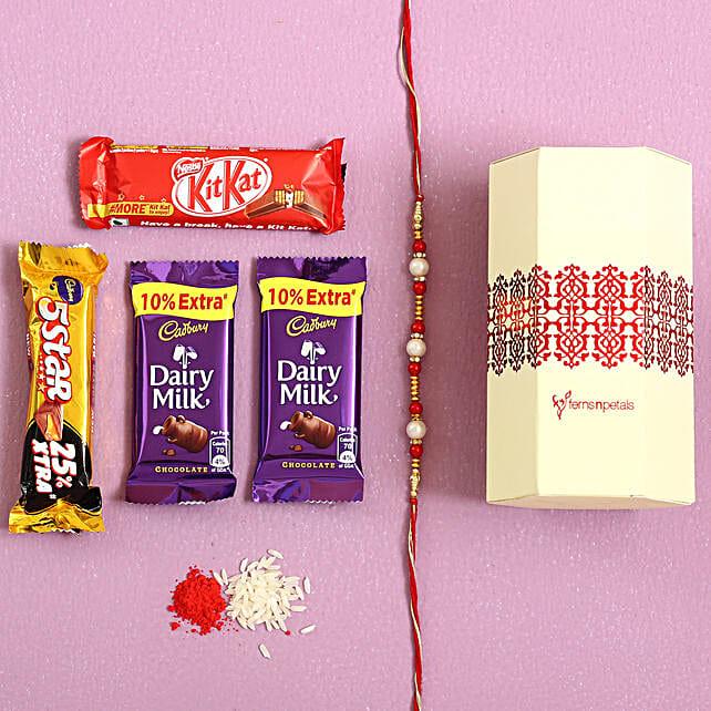 Pearl Rakhi & Cadbury Chocolates Combo