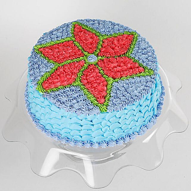 Floral Design Cream Vanilla Cake 1 Kg Eggless