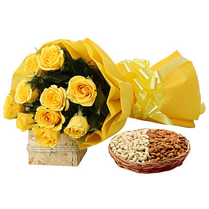 Combo of yellow roses bouquet and cashew nuts:Flowers & Dry Fruits