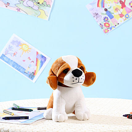Standing Dog Soft Toy White