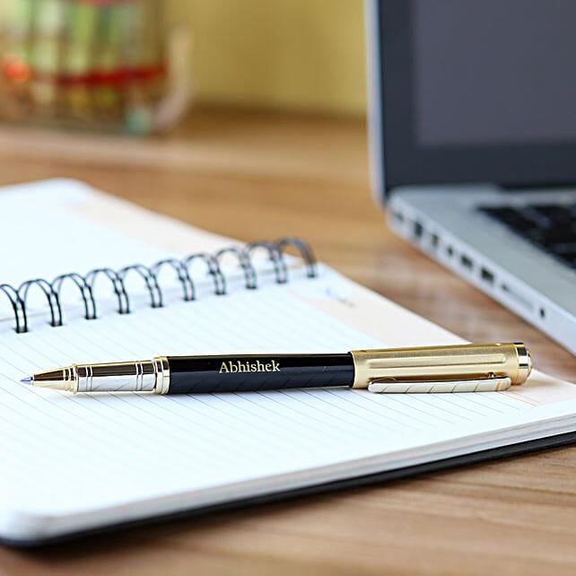 Personalised Black & Gold Body Roller Pen:Send Personalised Pens