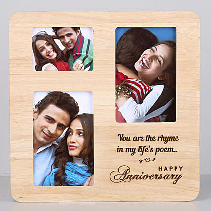 happy anniversary One Personalised Wooden photo frame for her