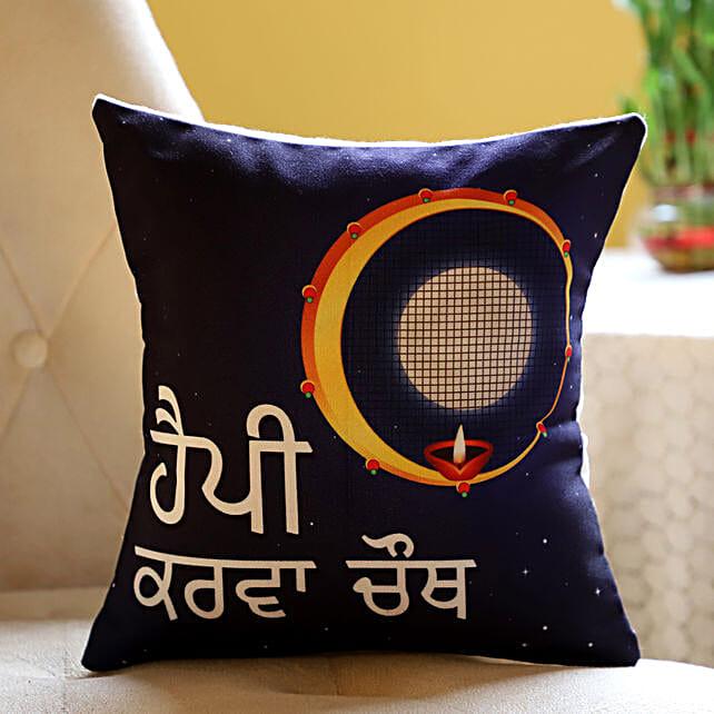 Karwa Chauth Punjabi Printed Cushion for Wife